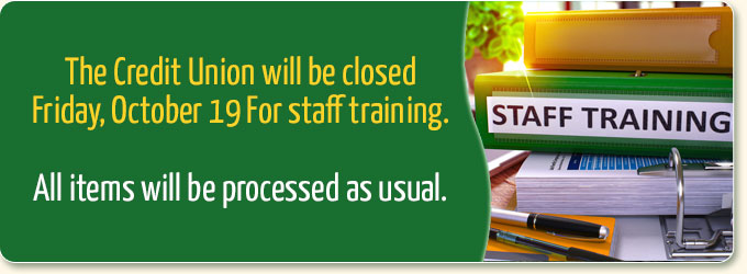 Staff training on October 19th. The office will be closed.